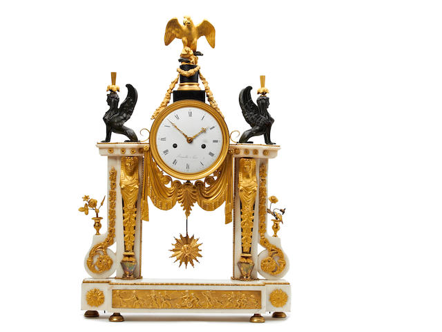 19th century French ormolu mantle clock, with phoenix and eagle decoration. With pendulum. Client requested dial and pendulum be restored if can be done for £300 or less. Bergmiller et Paris