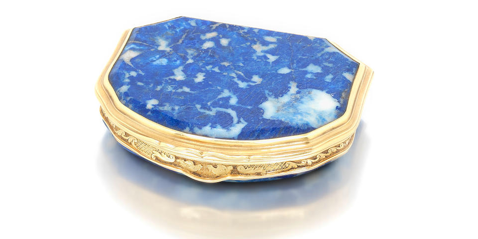 A Louis XV lapis lazuli and gold mounted snuff box, engraved Gouers À Paris to the rim and with the discharge mark of Charles Cordier 1722-27, by Daniel Gouers, the miniature by Gustav Klingstedt (1657-1734)