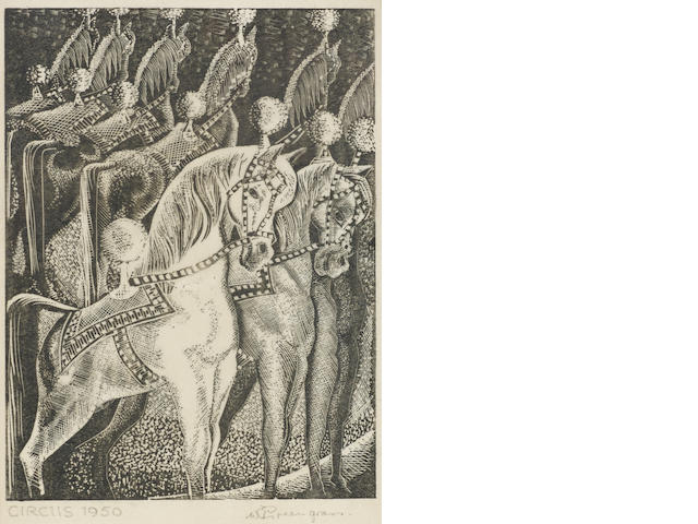 William Greengrass (British, 1896-1970) A Small Collection Six wood engravings: Circus, 1950, Jupiter and Juno, 1949, Pas de Seule, 1948, Swan Lake, 1949, Circus Horses, 1948, Dancers, 1950, on japan paper, each signed and dated in pencil, 195 x 193mm (SH and smaller), together with a colour aquatint 'Montmartre rue St Rustique', signed in pen, 265 x 205mm   600-800 ? 7