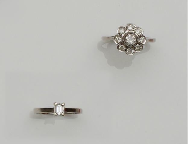 A diamond cluster ring and a diamond single stone ring (2)