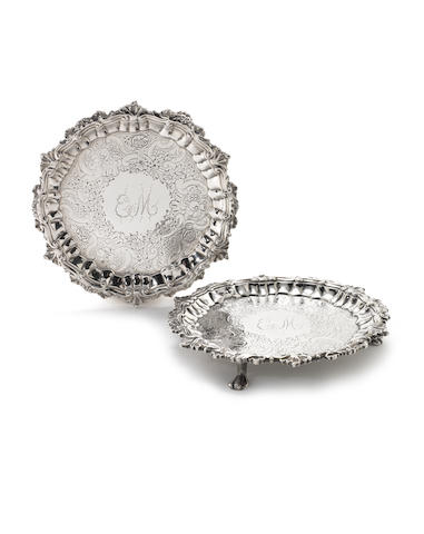 A rare pair of mid 18th century Jamaican silver card trays/waiters maker's mark AI, assay master Anthony Danvers, circa 1750  (2)