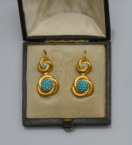 A pair of Victorian turquoise set earpendants
