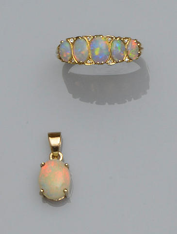 An opal and diamond half hoop ring and an opal pendant (2)