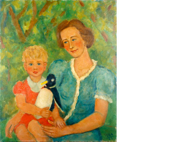 Jean Georges Simon (British, 1894-1968) Portrait of a mother and childing holding toy penguin (unframed)