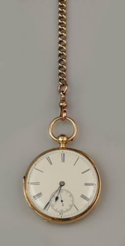 An 18ct gold open face pocket watch and Albert chain(2)