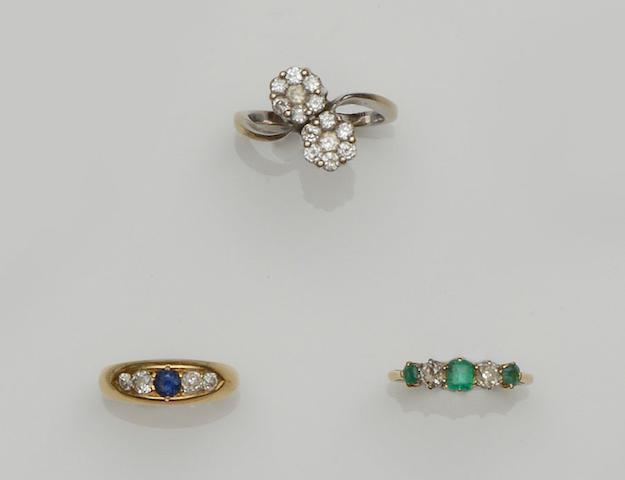 Three diamond set rings (3)