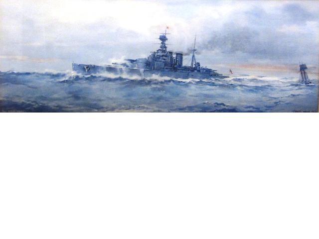 Frank Watson Wood (British, 1862-1953) HMS Hood