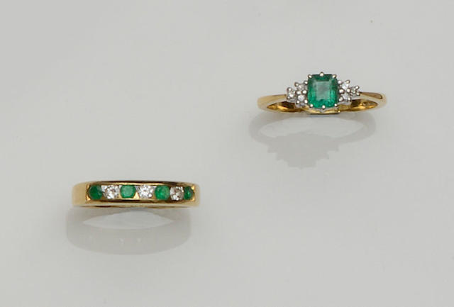 An emerald and diamond dress ring and an emerald and diamond half hoop ring (2)