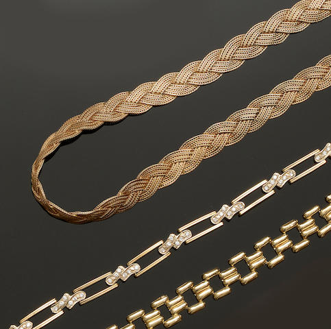 A yellow precious metal fancy-link necklace and two bracelets (3)