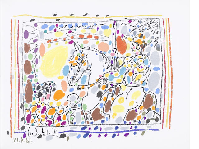 Pablo Picasso (Spanish, 1881-1973) A los Toros (Cramer 113; Bloch 1014 - 1017) The book containing the set of four lithographs, one printed in colours, 1961, hors-texte, with title page and text in French, on wove paper, from the edition of unknown size, printed by Draeger Freres, published by Mourlot Freres, the full sheets, bound as issued, grey cloth covered-boards with a reproduction after a drawing by Picasso on the front and lettering on the spine, red laid paper-covered slipcase with a reproduction after a drawing by Picasso on the front and back and lettering on the spine, 260 x 330mm (10 1/4 x 13in)(Vol)