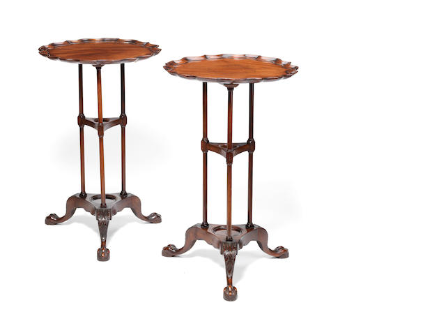 A pair of George III style mahogany occasional tables