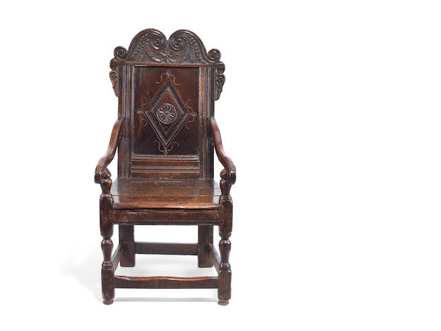A 17th century oak Wainscott armchair