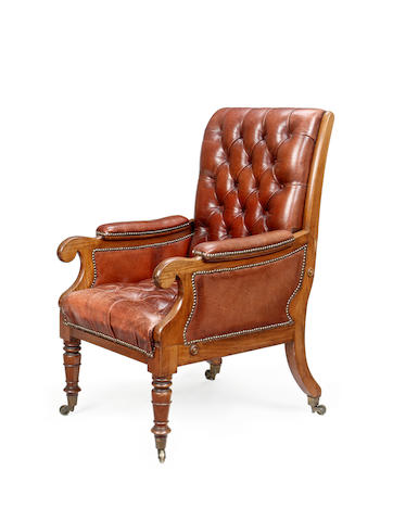A William IV rosewood reclining library armchair