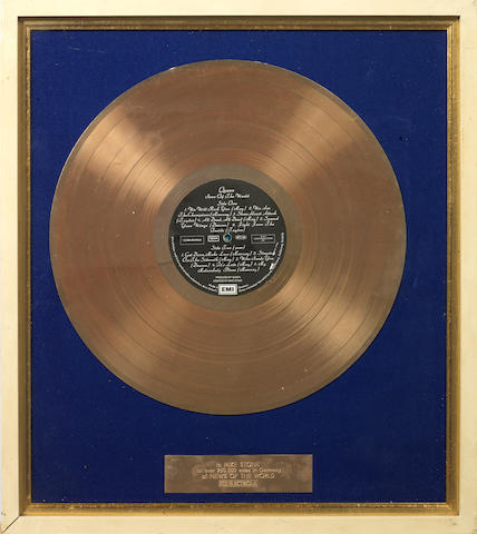 Queen: a German EMI in-house award for the album 'News Of The World',  presented to Mike Stone,