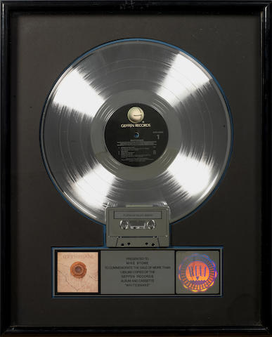 Whitesnake: an RIAA award for the album and cassette 'Whitesnake'  presented to Mike Stone,