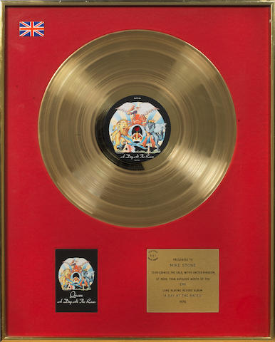 Queen: a BPI Gold award for the album 'A Day At The Races',  1976, presented to Mike Stone,