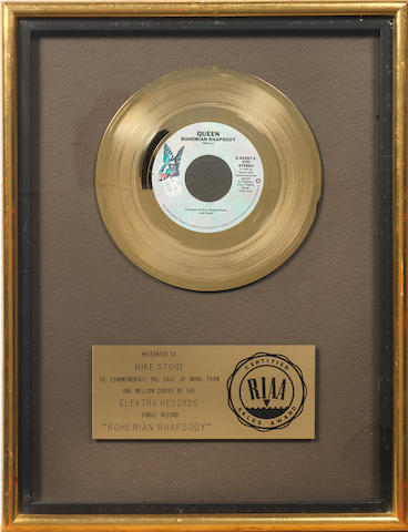 Queen: an RIAA award for the single 'Bohemian Rhapsody',    presented to Mike Stone,