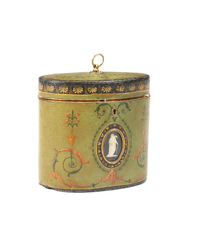 A George III polychrome decorated oval paper mâché tea caddy attributed to Henry Clay the decoration in the manner of Robert Adam, the jasperware medallions attributed to Wedgwood