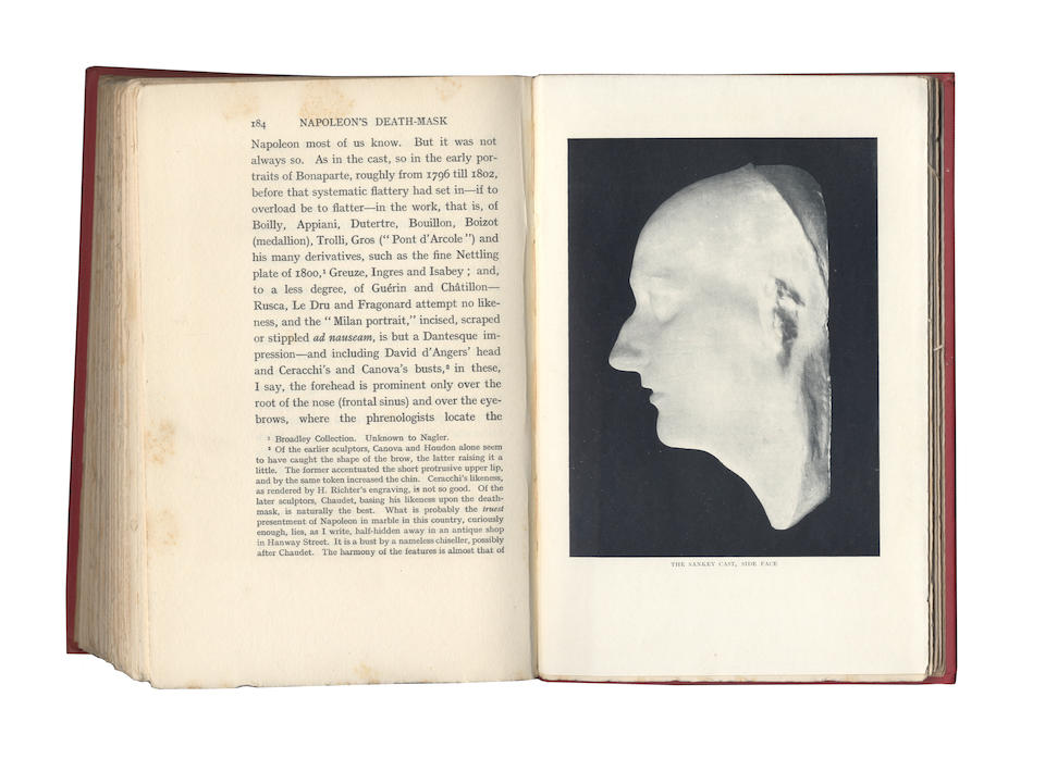 NAPOLEON BONAPARTE - THE BOYS DEATH MASK. Death mask of Napoleon, taken on the Island of St Helena on 7 May 1821, two days after his death, cast in plaster and presented to the Rev Richard Boys, Senior Chaplain of St Helena, with an autograph note of authentication by him, [cast for the Rev Richard Boys by Joseph William Rubidge on St Helena in May or June 1821]