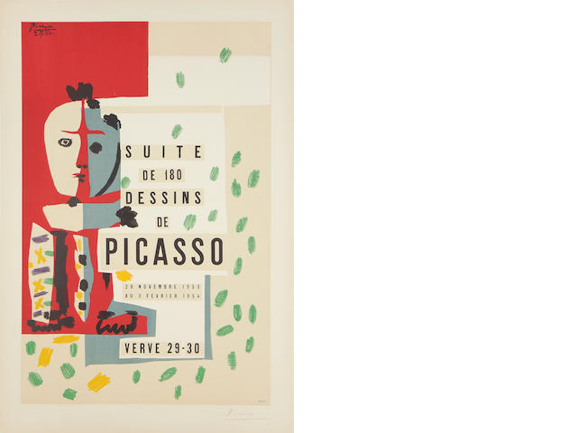 After Pablo Picasso (Spanish, 1881-1973) Suite de 180 Dessins de Picasso Lithographic poster in colours, 1954, on Arches, signed in red crayon, published by Mourlot, Paris, with margins, 692 x 470mm (27 1/4 x 18 1/2in)(SH)(unframed)