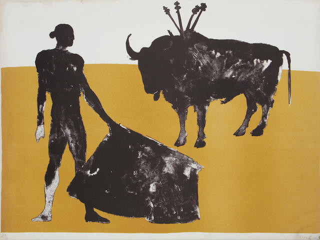 Dame Elisabeth Frink R.A. (British, 1930-1993) orrida Five lithographs printed in colours, from the set of eight, 1973, on TH Saunders wove, each signed and numbered 24/72 in pencil, printed at Curwen Studio, published by Leslie Waddington Prints Ltd, London, the full sheets, 570 x 770 (30 1/4 x 22 1/4in)(SH)(unframed)(5)