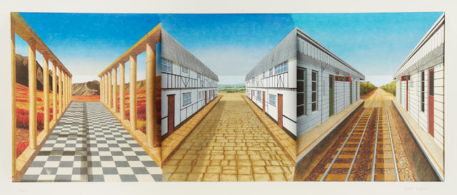 Patrick Hughes (British, born 1939) Journeys Hand painted 3D lithographic multiple in colours, 2000, signed and numbered 34/40 in pencil, printed and hand-coloured by Jack Shireff at the 107 Workshop, Wiltshire, in the original perspex presentation box, 420 x 875 x 170mm (16 1/2 x 34 1/2 x 6 3/4in)(Overall)