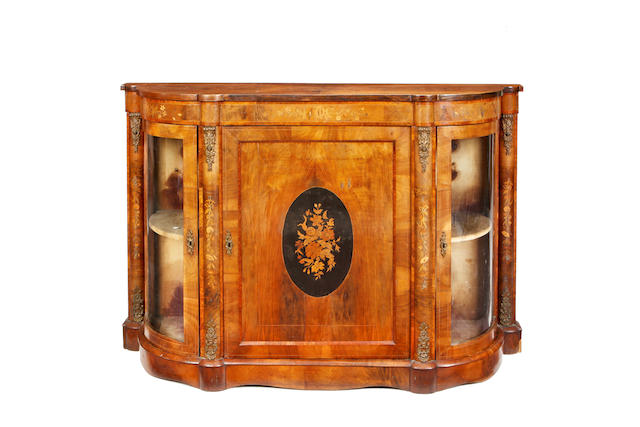 A Victorian walnut and gilt metal mounted credenza
