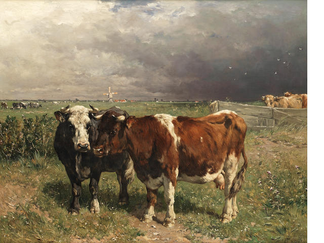 Johannes Hubertus Leonardus de Haas (Dutch, 1832-1908) Cattle in a pasture