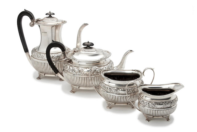 An Edwardian four piece tea and coffee service by Harrison Bros. & Howson, Sheffield 1906