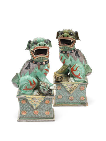 A pair of Kangxi models of Buddhistic lions