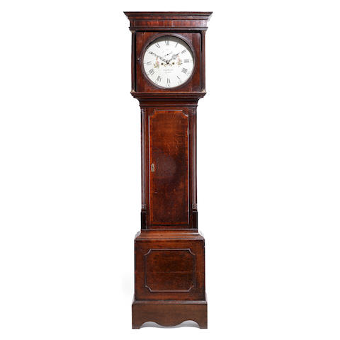 A George III oak and mahogany crossbanded painted dial longcase clockThe dial signed Hugh Knight, Stone (Staffordshire)