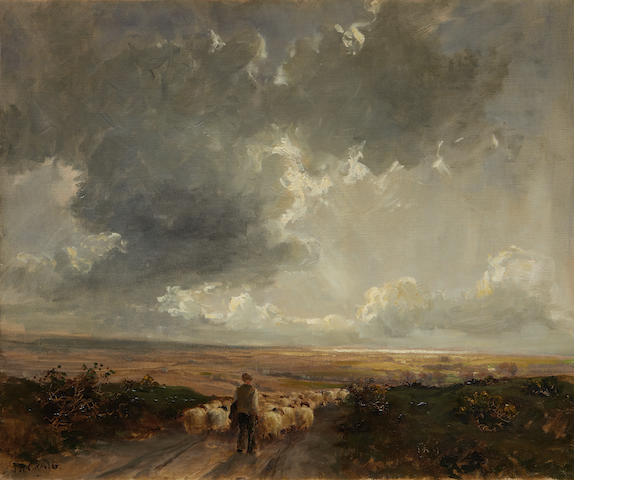 James Humbert Craig (Irish, 1878-1944) Farmer driving sheep on an open road before a landscape