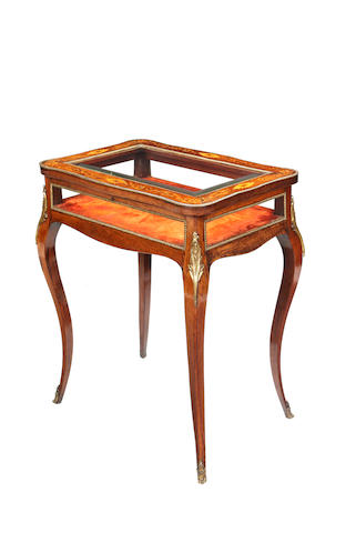 A late 19th/early 20th century rosewood and fruitwood marquetry bijouterie table