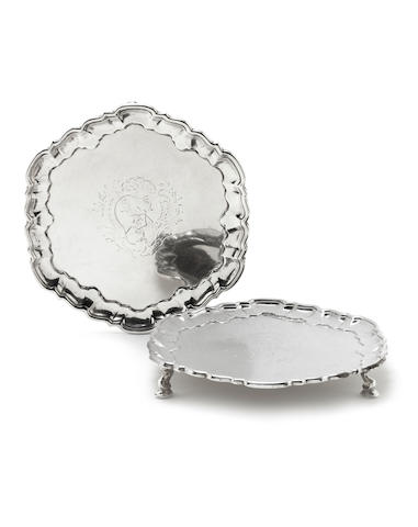 A pair of George II silver card trays / waiters by Peter Taylor, London 1745 (2)