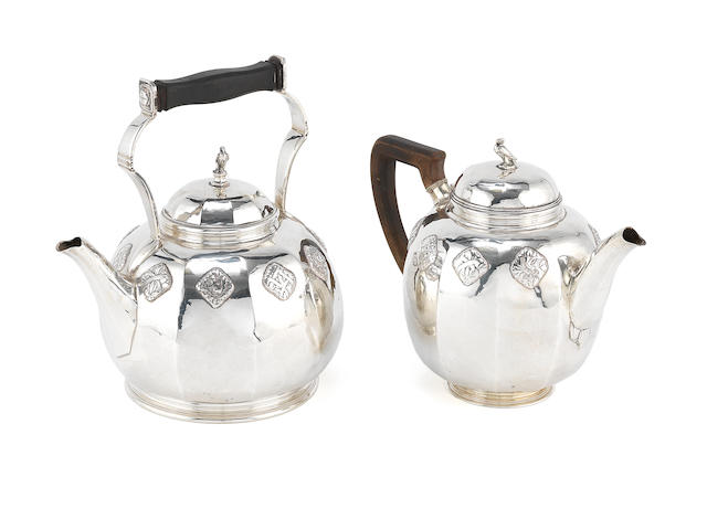 HAROLD STABLER: An Arts and Crafts silver teapot and matched kettle the teapot unmarked, the underside prick-dot engraved HAROLD STABLER MADE IN ENGLAND, the kettle with maker's mark for Harold Stabler, London 1925  (2)