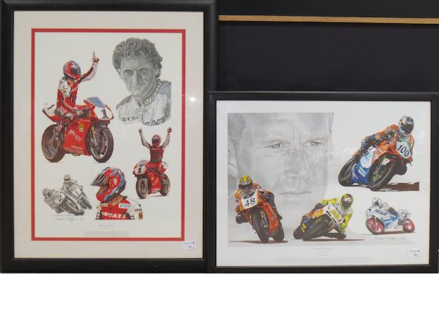 Two tribute prints for Carl Fogarty and Neil Hodgson, after Stuart McIntyre,