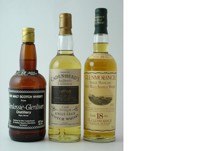 Glenlossie-Glenlivet-13 year old-1966<BR /> Girvan-14 year old-1979<BR /> Glenmorangie-18 year old