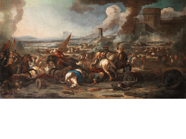 Marzio Masturzo (active Naples, circa 1670) A cavalry battle between the Christians and Turks with a