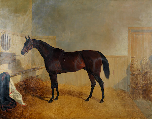John Frederick Herring, Snr. (British, 1795-1865) King Cole, a bay racehorse, in a stable