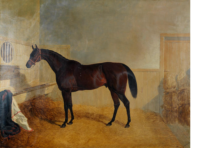 John Frederick Herring, Snr. (British, 1795-1865) King Cole, a dark bay hunter in a stable