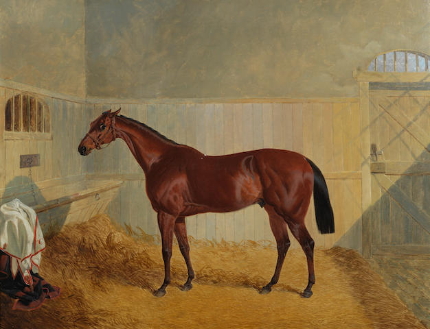 John Frederick Herring, Snr. (British, 1795-1865) Chantilly, a chestnut hunter in a stable