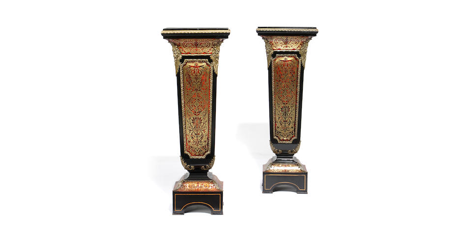 A pair of late 19th century ebony, ebonised, tortoiseshell and brass 'Boulle' marquetry pedestals