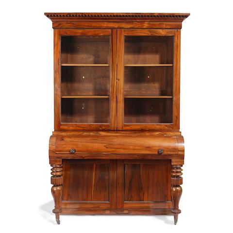 A rosewood bureau bookcase