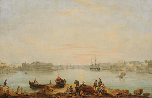 Circle of Anton Schranz Jnr. (Maltese, 1801-circa 1865) The English fleet in the Grand Harbour at Valletta, Malta