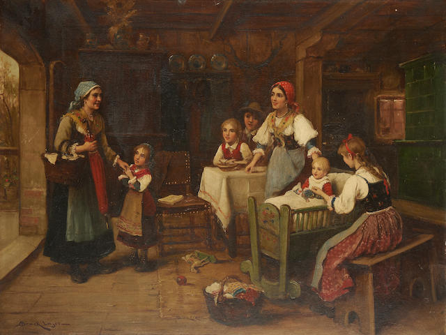 Lajos Bruck (Hungarian, 1846-1910) A happy welcoming