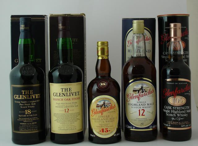 The Glenlivet-18 year old<BR /> The Glenlivet-12 year old (2) <BR /> Glenfarclas-15 year old<BR /> Glenfarclas-12 year old<BR /> Glenfarclas 105