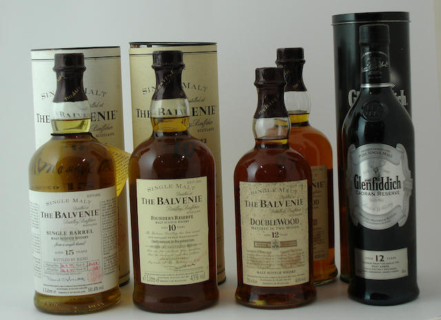 The Balvenie Single Barrel-15 year old-1979<BR /> The Balvenie Founder's Reserve-10 year old<BR /> The Balvenie Doublewood-12 year old (2) <BR /> Glenfiddich Caoran Reserve-12 year old