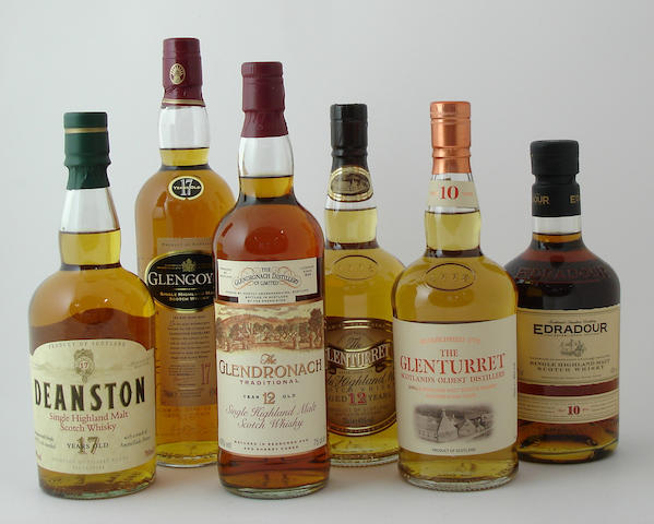Deanston-17 year old<BR /> Glengoyne-17 year old<BR /> Glendronach-12 year old<BR /> Glenturret-12 year old<BR /> Glenturret-10 year old<BR /> Edradour-10 year old