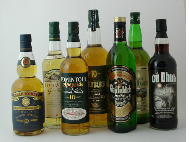 Glen Moray-12 year old<BR /> Tamnavulin-Glenlivet-10 year old<BR /> Tomintoul-10 year old<BR /> Speyburn-10 year old<BR /> Glenfiddich<BR /> Glen Ranoch<BR /> Cu Dhub