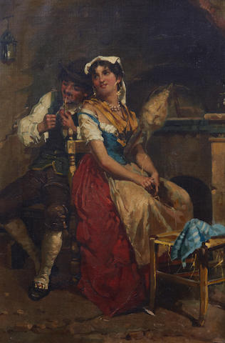 Neapolitan School, (later 19th century) Continental couple by fireplace